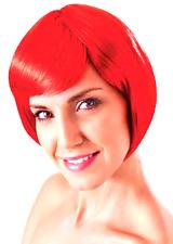 Ladies Short Red Bob 80's Disco Wig SAME D.Flick & Fringe China Doll Fancy Dress