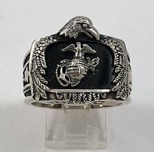 Large Sterling Silver Semper Fidelis Marine Corps Ring With Eagle