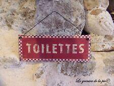 plaque de porte en métal toilettes style émail damier rouge rétro vintage 20x7.5