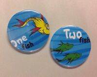 "Dr Seuss One Fish Two Fish 2.25"" Button Badge Pin Set Birthday Gift Party Favor"