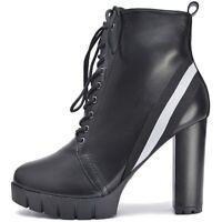 Damen Plateau Schnür Ankle Boots Stiefeletten mit Absatz Profil Sohle Lack Matt
