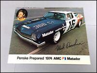 1974 Mark Donohue Penske AMC Matador NASCAR Race Winston Cup Brochure Card