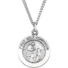 "MRT Sterling Silver Girls First Communion .65"" Medal 18"" Stainless S Necklace"