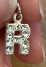 Solid Silver And Crystal 'R' Charm