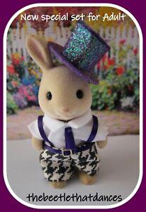 Sylvanian Families Clothes, New Trousers set & hat C for ADULT Cat, Rabbit ETC