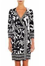 Diane von Furstenberg Tallulah Wrap Dress Flower Ikat Black White 2 DVF