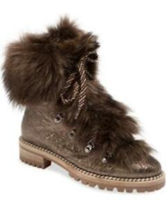 Christian Louboutin FANNY Fur  Metallic Leather Flat Combat Hiking Boots $1995