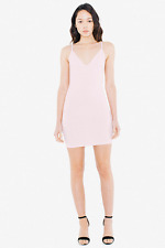 American Apparel Ponte Bixel Dress Open Strappy Pink Back Deep-  Size L