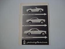 advertising Pubblicità 1960 ALFA GIULIETTA SPYDER/FIAT 1500 COUPE'/FLAMINIA
