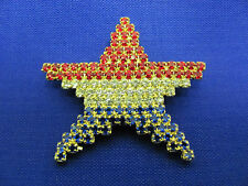 Patriotic Gold Rhinestone Red White and Blue Star Flag Pin #10G