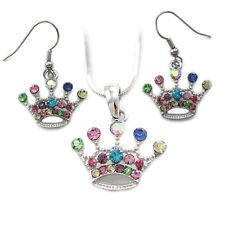 Multi Color Princess Queen Tiara Crown Charm Pendant Necklace Earrings Set s1000