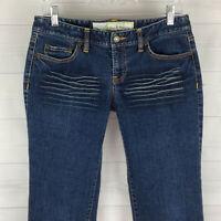 Ann Taylor LOFT womens size 6 stretch blue distress dark wash slim straight jean