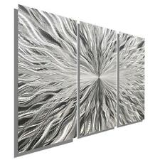Silver Contemporary Abstract 3 Panel Metal Wall Art Sculpture Decor - Jon Allen