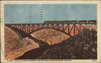 Santa Fe RR Train Canyon Diablo Near Winslow AZ H-4547 Linen Postcard