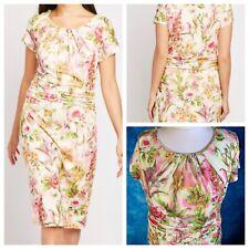 Together Damen Creme Mix Kleid Größe 20 Blumenmuster Gefüttert Elastisch Seite Reißverschluss Neu NWOT