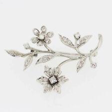 Vintage Diamond Daisy Flower Brooch Platinum