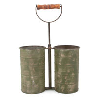 Double Galvanized Metal Pot Bucket Planter Caddy Farmhouse Storage Organizer