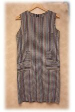 Vintage 1960s Plaid Waffle Weave Dress (Size 14)