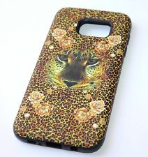 For Samsung Galaxy S7 Edge SLIM FIT HYBRID ARMOR IMPACT CASE BROWN LEOPARD ROSE