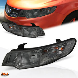 For 10-13 KIA Forte Headlight/Lamp Set Replacement Smoked Lens Clear Side Corner