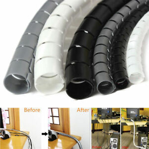 2 M CABLE TIDY Wire Cable Cord PC TV Organising Wrap Spiral Office Home UK