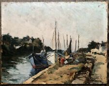 BILS Claude Tableau Marine Port Douarnenez Bateaux Bretagne Finistère Peinture