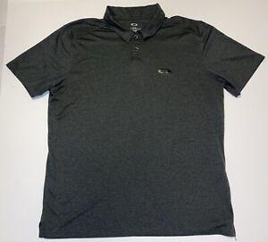 Oakley Mens Size XL Charcoal Gray Logo Polo Shirt Golf Athletic Polyester