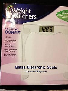 NIB- CONAIR WEIGHT WATCHERS GLASS ELECTRONIC SCALE(380 lb)-ship free