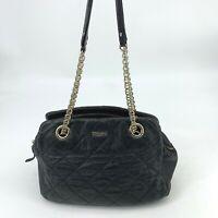 Kate Spade Black Soft Quilted Leather Purse Shoulder Bag Gold Chain Hardware