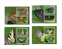 BUTTERFLIES 2016 INSECT BUGS 8 SOUVENIR SHEETS MNH UNPERFORATED PAPILLONS