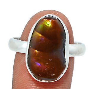 Mexican Fire Agate 925 Sterling Silver Ring Jewelry s.10 BR78271