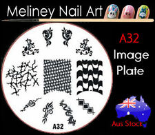 A32 Stamping Nail Art Image Plate Design Round XL Stencil metal
