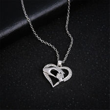 Fashion Mom Hold Kids Children Hand Love Heart Pendant Chain Necklace Jewelry