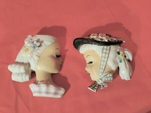 (2) Vintage LADY HEAD VASE WALL POCKET Blonde Pony Tail - EXC