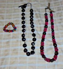 Hawiian Kukui Nut & Assorted Bead Necklace Lei w/ethnic look stretch bracelet