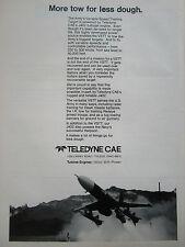12/1977 PUB TELEDYNE CAE ARMY VSTT TARGET DRONE J402 TURBINE ENGINE ORIGINAL AD