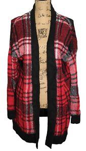 Ruff Hewn Women's Designer Buffalo Plaid Print Open Knit Cardigan Sweater XL
