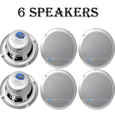 "LOT OF (6) Lanzar AQ5DCS 300 W 5.25"" Dual Cone Marine Speakers - Silver Color"