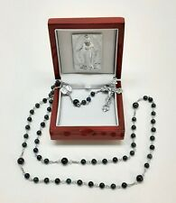 All Sterling Silver Madonna Rosary with 6mm Genuine Azurite-Malachite Beads