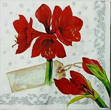 AMARYLLIS RED FLORAL 2 single LUNCH SIZE paper napkins for decoupage 3-ply