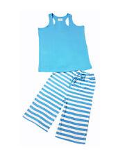 Ladies blue vest and three quater shorts pyjama loungewear holiday wear free P&P
