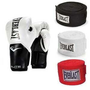 Everlast White Elite ProStyle Boxing Gloves 12 Oz & 120-Inch Hand Wraps (3 Pack)