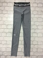 UNDER ARMOUR LADIES UK XS GREY HEATGEAR BRANDED LONG RUNNING TIGHTS LEGGINGS