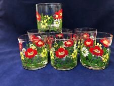 Georges Briard MCM Red Blue Yellow Floral Low Ball Glasses S/7