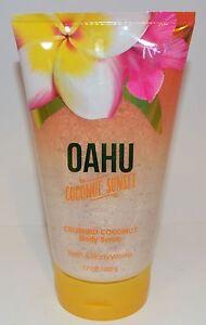 NEW BATH & BODY WORKS OAHU COCONUT SUNSET CRUSHED COCONUT SCRUB WASH SHOWER GEL