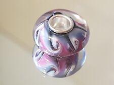 PRETTY SWIRLS - Murano Glass Silver Plated Core Charm Bead