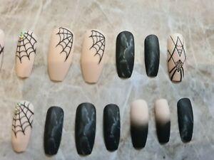 Spider Web halloween Nails, Long Coffin Nails, Press On nails, False Fake Nails,