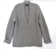 SUTTON STUDIO Thick Softest Grey Plunge Neck Cashmere Sweater Size L