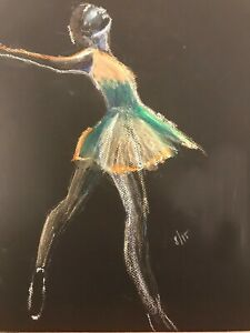 Oil Pastel Drawing of a Dancer on Black Paper
