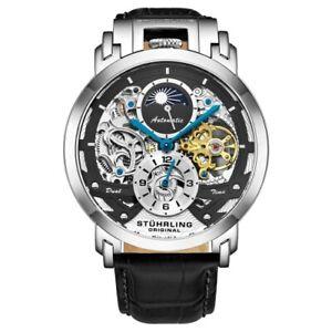 Stuhrling 906 Menai Automatic Moon Dial Skeleton Dual Time Open Heart Mens Watch